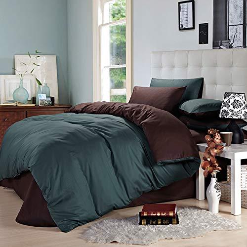 XMDNYE Pure Color Double Ab Version Vier Baumwollsuite Hotelbettwäsche Schwarzes Und Weißes Rundes Bett, Saphirblau Mit Kaffee, 1,8 M Langes Bett (Blatt Weiß Königin Bett)