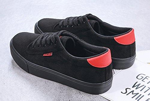 Aisun Femme Classique Talon Plat à Lacets Basses Tennis Sneakers Noir