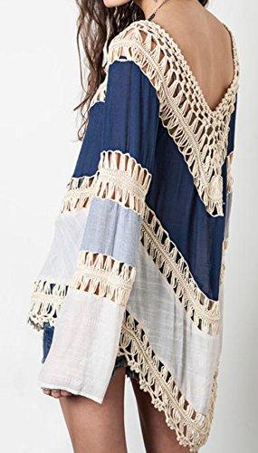 Damen Boho V-Ausschnitt Lose aushöhlen Häkelarbeit casual Beachwear Bikini Cover strandtuch Strandponcho Blau