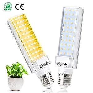 LED Pflanzenlampe Vollspektrum E27 50W Wachstumslampe Sonnenähnliche Full Spectrum Pflanzenleuchte E27 Leuchtmittel LED Grow light für Zimmerpflanzen Gemüse und Blumen, 2er Pack