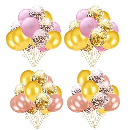 TOPWINRR 60pcs Rosa Dorado Confetti Globos Látex 12 Pulgadas Fiesta Cumpleaños Decoraciones Boda Navidad