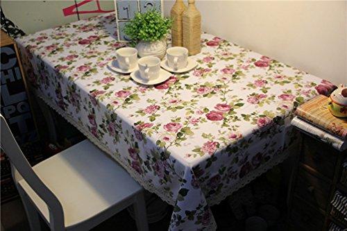 Style pastoral Motif floral Couverture de luxe en lin Nappe résistant aux taches Facile à nettoyer Rectangle Table Cover Tassel Salle Nappe, blanc, 24 pouces par 24 pouces