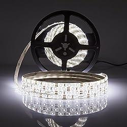 LEDMO Tira LED, Tira LED Blanco 6000K 12V SMD2835-300led IP65 Impermeable 15Lm/led tira led de alta luminosidad 5 metros CRI80 para la iluminación del gabinete de cocina, dormitorio, TV iluminación decorativa, Kit Completo con fuente de alimentación 12V 5A.
