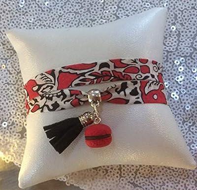Lady-Charms - Fait-main - Bracelet multi-brins liberty Mini Macaron et Pompon - Cadeau idéal