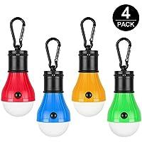 Campinglampe LED,Mopoin Camping Lampen Camping Laterne Wasserdicht Leuchtmittel Lampe Zelt mit Karabiner für Camping, Abenteuer,Notlicht,Stromausfall oder Outdoor-Aktivitäten[4 Stück]