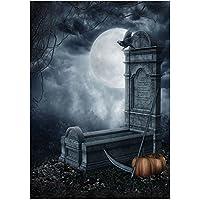 Vococal - 5 x 7 pies / 150 x 200 cm Vinilo Fondo de fotografía de Halloween Horror Night Grave estudio foto telón de fondo adornos Halloween suministros de decoración (Estilo Tumba de la Muerte)