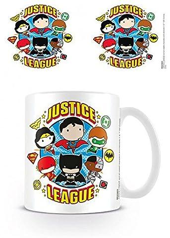 Set: Ligue De Justice D'Amérique, Justice League Chibi Tasse À Café Mug (9x8 cm) + 1x Sticker Surprise 1art1®