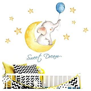 Little Deco Aufkleber Elefant & Spruch Sweet Dream I M - 139 x 63 cm (BxH) I Mond und Sterne Wandbilder Wandtattoo Kinderzimmer Tiere Deko Babyzimmer Junge DL190