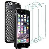 ivoler Cover per iPhone 6s Plus / 6 Plus + 3 Pezzi Pellicola Vetro Temperato, [Fibra di Carbonio] Custodia Protezione in Morbida Silicone TPU Anti-Graffio e Antiurto Protettiva Case - Nero