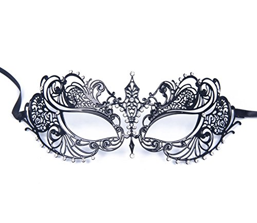 Gearmax® Sexy Glänzende Metall Schwarz venezianischen Maskerade-Maske für Frauen mit Kristallen Halbaugenmaske (Schwarz mit Blaustraß)