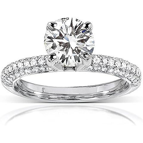 Moissanite & Micro, con pavé di diamanti Anello di fidanzamento in oro bianco 14 k, 8 mm