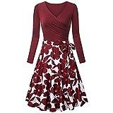 OIKAY Damen Langarm Elegant Audrey Hepburn Kleid Langarm A-Linie mit Blumendruck U-Ausschnitt Partykleider Cocktailkleid Printkleid(Rot,EU-34/M)