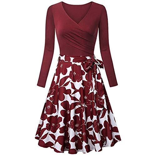 Xmiral Damen Kleid Langarm V-Ausschnitt Vintage Elegant Ausgestellte Kleider Mit Gürtel(S,Rot 4)
