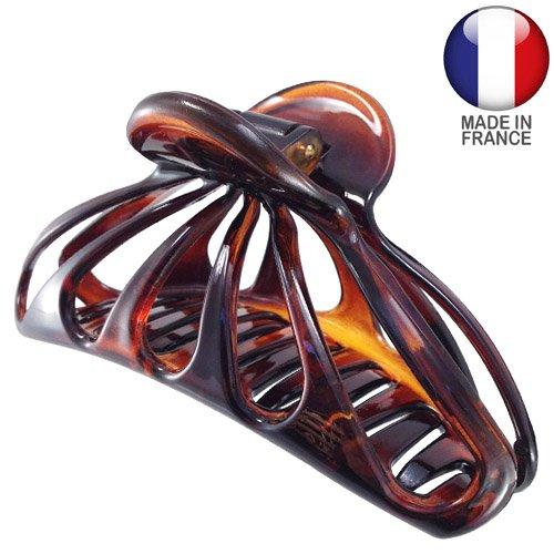 459 – 003 – Pince pour cheveux français ajourée cm 10 – Tortue – Pinces pour Cheveux