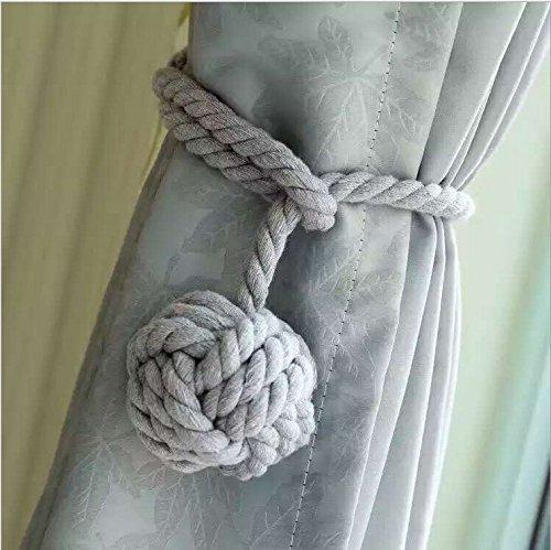 Ein Paar Handgestrickte Vorhang Raffhalter Von Do4U Grau