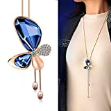 #4: Yellow Chimes Butterfly Collection Gold Plated and Cubic Zirconia Pendant for Girls (Blue; Rose Gold)(YCFJNK-215BTR-BL)