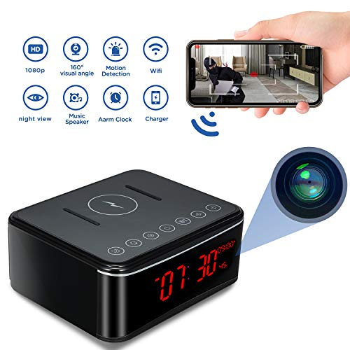 Caméra Espion, Horloge Caméra Cachée 1080P HD WiFi Mini Caméra Espion, Caméras de Surveillance de Sécurité à la Maison de Bureau réveil/Vision Nocturne/Détection de Mouvement/Chargement sans Fil