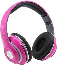 Kopfhörer Bluetooth Kabellos Noise Cancelling - Srhythm STN-13 Ear Kopfhoerer mit Mikrofon 16.3oz Ultraleicht Faltbar Stereo mit die meisten Smartphones und andere Bluetooth-Geräte (Pink)