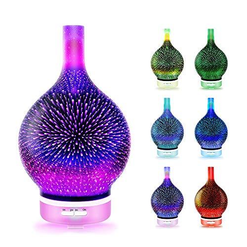 Difusor de aceite esencial, humidificador de aroma de vidrio de 120 ml, Aromaterapia Aromaterapia de luz nocturna en 3D Aromático, Luz de noche colorida, Cierre automático, Dormitorio Oficina Yoga
