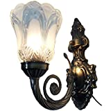 SAH Metal And Glass Antique Style Single Wall Lamp (sah106, White)