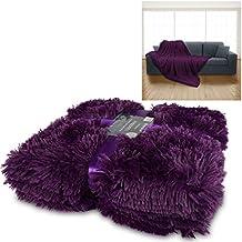 Manta de lujo para acurrucarse de piel sintética, caliente, suave, lujosa de 150cm x 200cm para sofá cama con lazo de regalo
