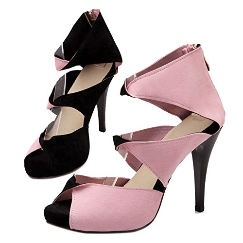 COOLCEPT Damen Mode Slip On Sandalen Peep Toe Stiletto Schuhe Mit Zipper Schwarz