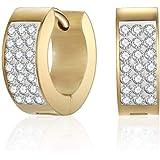 Mestige Women's Gold Plated Crystals Rosie Hoop Earrings, Gold- MSER3245