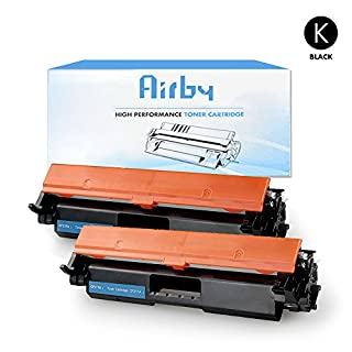 2x Airby® New Compatible HP CF217A 17A Toner Cartridge Black for HP LaserJet Pro M102w LaserJet Pro MFP M130fn M130fw M130nw M130a Series Printers (New Compatible Chip included)