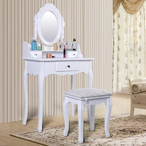 FDS Bedroom Dressing Table Set with Adjustable Oval Mirror and Stool