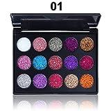 Lidschatten Palette 15 glänzende Pailletten Eyeshadow Augenschatten Farbpalette Natürliche Schimmer Kosmetik Profi Schönheits (1)