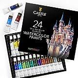 Castle Art Supplies, juego de tubos de pintura para acuarela (para profesionales o principiantes), 24 colores concentrados y vivos, kit de pintura