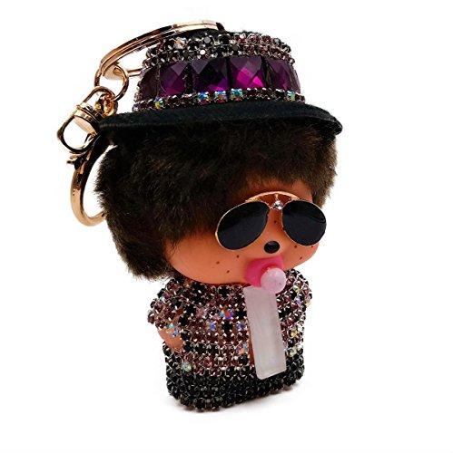 Schlüsselring Schlüsselanhänger Damen Monchichi Baby-Popstar Juwel der Handtasche Strass Pailletten (Purple Amethyste) (Handtaschen Amethyst)