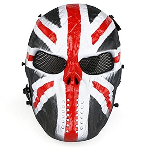 Full Face Airsoft Mask Flag print Easy Breath See Through Paintball Mask with Metal Mesh Eye
