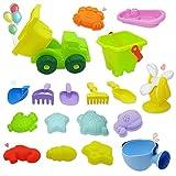 Alkia Beach Toys, Set di 18 Pezzi di Sabbia, Set di Attrezzi da Spiaggia di Forme Mulini a Vento, Camion, Barca, annaffiatoio, Pale, rastrelli, Secchiello, Creature del Mare, stampi del Castello