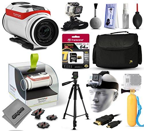 TomTom Bandit 4K Action Kamera mit 64GB Ultra Speicher + große gepolsterte Tasche + 152,4cm Pro Series Stativ + geteiltes Halterung +...