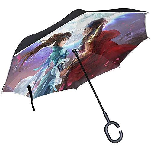 Reverse Umbrella Love Partner Unter dem Mond Inverted Umbrella Reversible für Golf Car Travel Regen Outdoor Schwarz