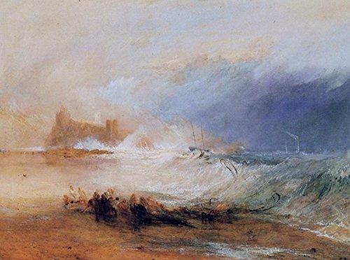 Das Museum Outlet-Wreckers-Coast of Northumberland, mit eine steam-boat Unterstützung ein Schiff Off Shore, 1834-A3Poster