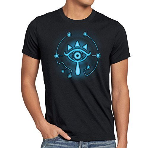 A.N.T. Sheikah Herren T-Shirt wild Switch The Breath of SNES Zelda Ocarina link, Größe:M;Farbe:Schwarz