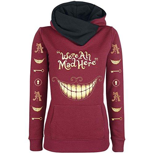 """Felpa bordeaux da donna con cappuccio """"Mad Mouth"""" di Alice in Wonderland maglia stampata con il sorriso di stregatto alice nel paese delle meraviglie (XS)"""