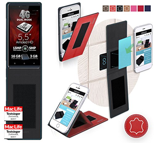 reboon Hülle für Allview V2 Viper X+ Tasche Cover Case Bumper | Rot Leder | Testsieger