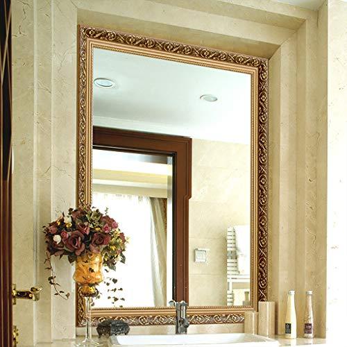 Lattice shop Badspiegel Europäische Geschnitzte Badezimmerspiegel Wand hängen Dressing Wasserdichte Wash Make-up/Schlafzimmer Eitelkeit/Wohnzimmer Wand Kosmetikspiegel mit Holzrahmen -