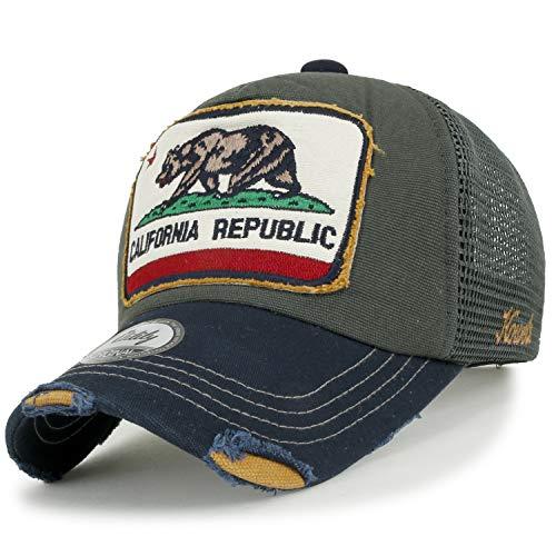 ililily Illustration Flicken abgenutztes Aussehen Baumwolle Baseball Cap klassischer Stil Trucker Cap Hut, Dark Grey Mesh