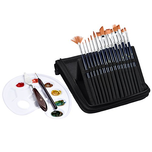 ATMOKO Pinsel Set, 15 Stück Nylon Haar Pinsel mit Tablettpalette Palettenmesser, Stift, Nylon Ledertasche für Aquarell, Acryl, Ölgemälde, Malerei Keramik, Perfekt für Kinder, Künstler, Amateure