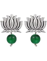 Jaipur Special Lotus Shape Oxidised Silver With Green Beads Stud Drop Earring For Girls & Women