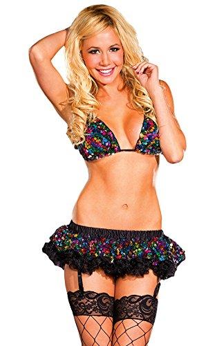Medium Adult Kostüm Tanz - Raveware Damen Dessous Pailletten Tri-Top und passender Rock - Mehrfarbig - Medium/Large