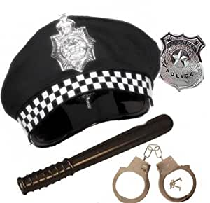 Adult Policeman Police Officer Panda Hat Handcuffs Badge Truncheon Fancy Dress