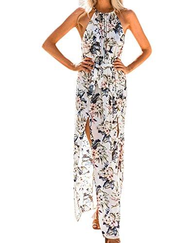 a0180bb7a0831 Donne Elegante Abito da Cerimonia Sera Lungo Schienale Fascia Vestito Senza  Maniche Estivo Casual Floreale Fiori Fantasia Dress (M