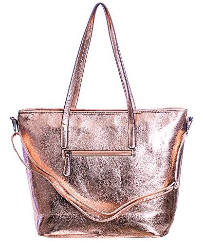 Damen Handtasche Shopper schultertasche umhängetasche streifen Stern Glitzer Cut out Vintage look metallic rosegold