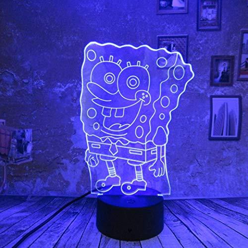 orangeww 3d Illusion Lampe / 3d Nachtlicht / 7 wechselnde Farben Touch Nachtlicht/Junge Kind Spielzeug Licht/Geburtstagsgeschenke/SpongeBob