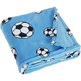 Playshoes Fleece-Decke, Babydecke, Kuscheldecke Fußballdesign, Oeko-Tex Standard 100